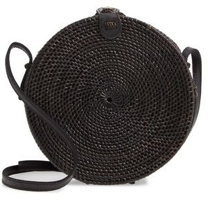 Handbags - Round Black Rattan Woven Basket Crossbody Bag